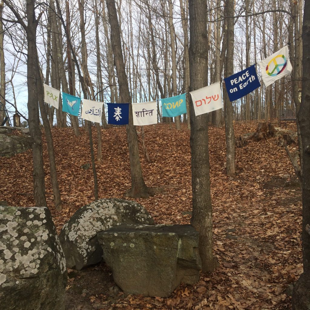 Peace flags in Newmarket, NH