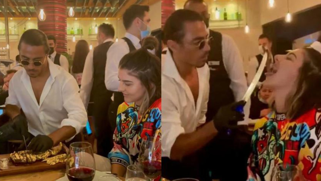 Bianca Andreescu Being Fed Golden Beef by Celeb Chef Salt Bae
