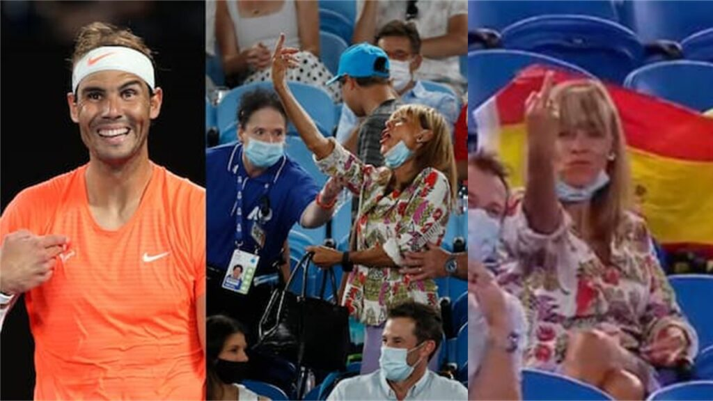 Why did the woman show Nadal her middle finger at the Australian Open