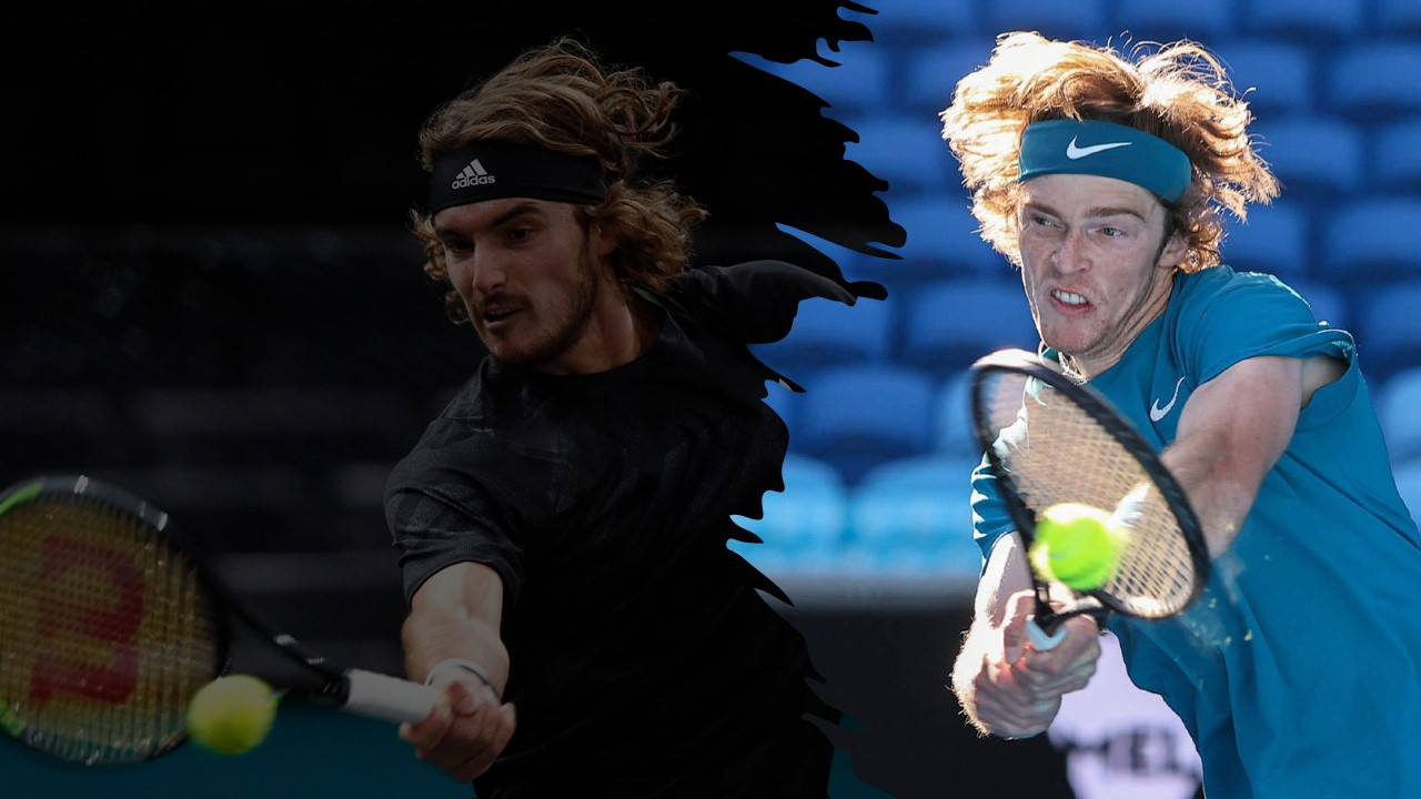 Stefanos Tsitsipas and Andrey Rublev battle for a spot in the Rotterdam Finals