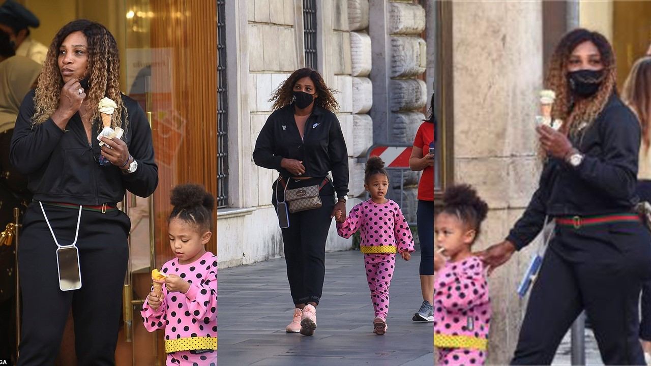 Serena Williams and her Daughter Olympia Light Up Streets of Rome