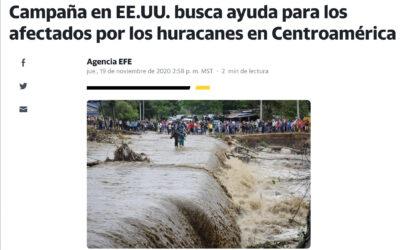 Campaña en EE.UU. busca ayuda para los afectados por los huracanes en Centroamérica