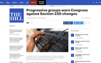 Progressive groups warn Congress against Section 230 changes