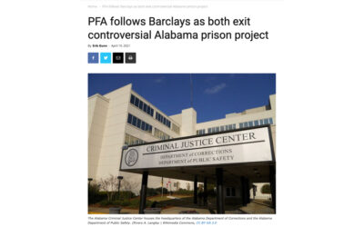 PFA follows Barclays as both exit controversial Alabama prison project
