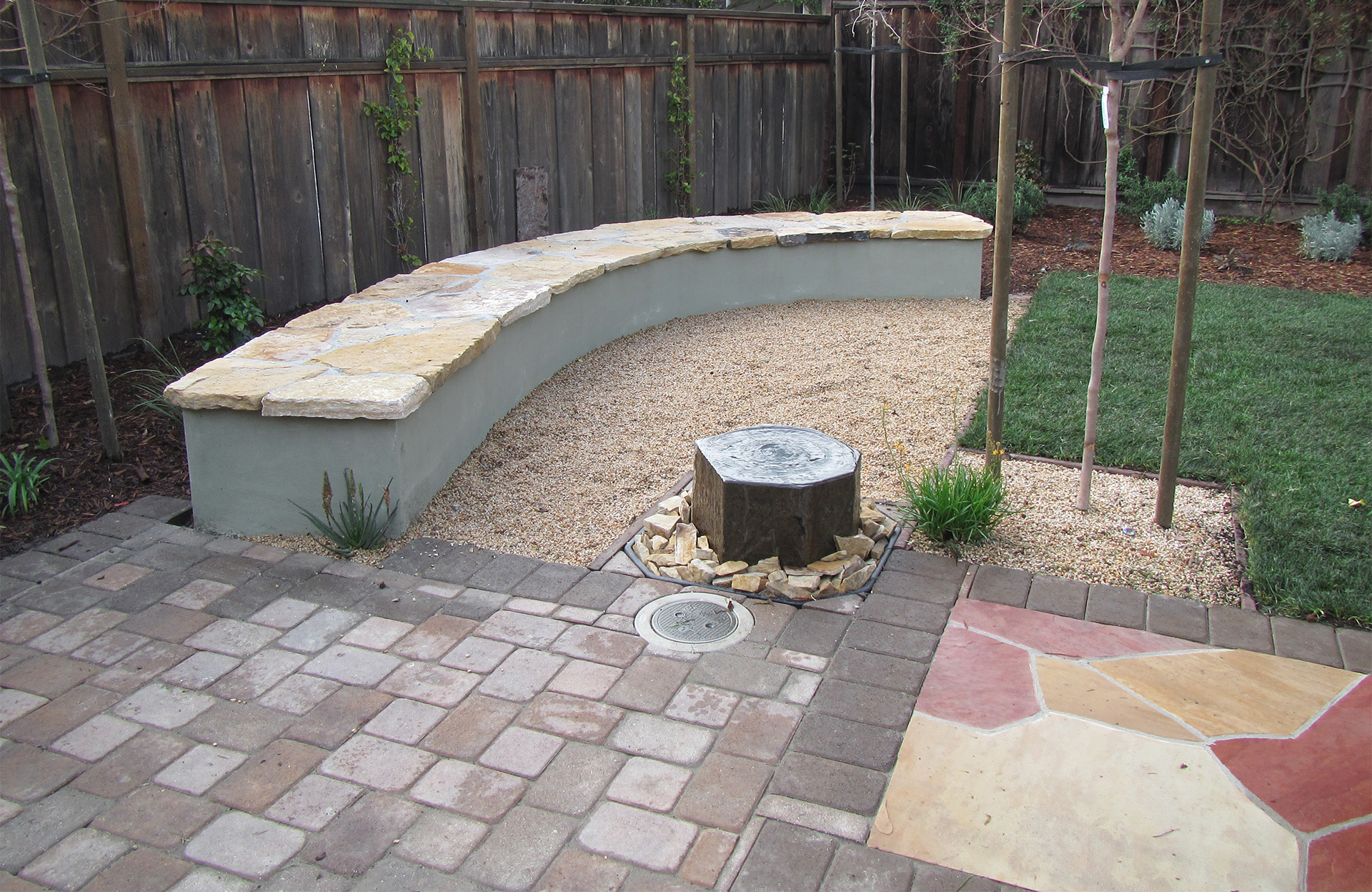 Masonry Wall, flagstone patio, pavers, water features