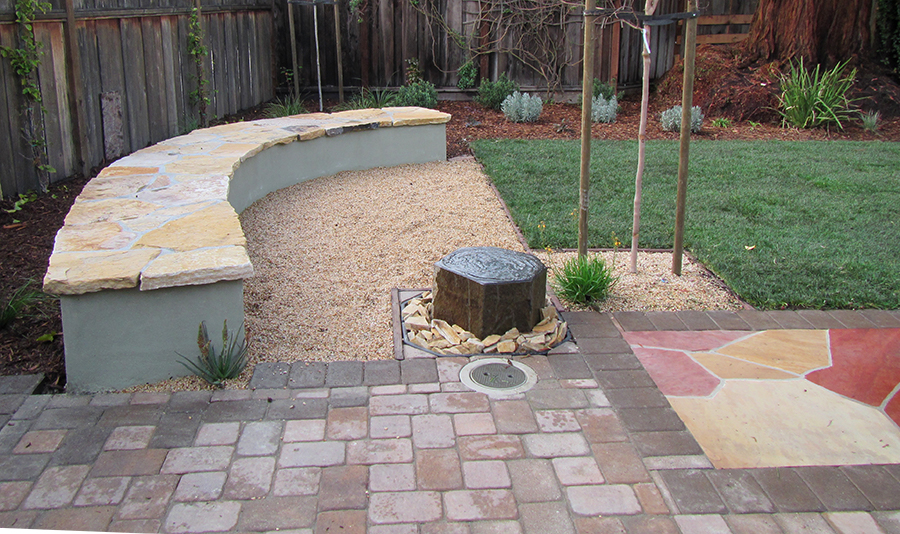 Renovated backyard in Palo Alto, CA after landscape renovations.