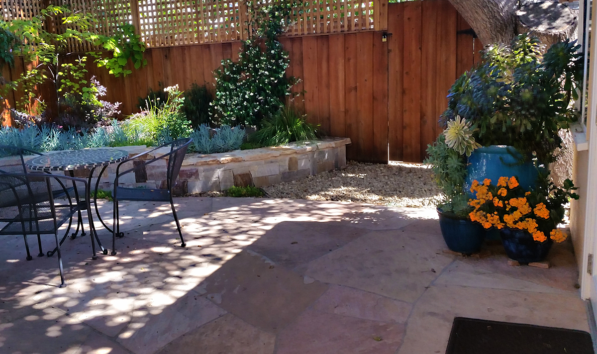 Private backyard with small seating area, raised bed planted with succulents bordered by a masonry wall and a matching flagstone patio