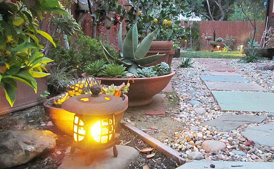 Lighting, stone pathway, container gardens, lawn