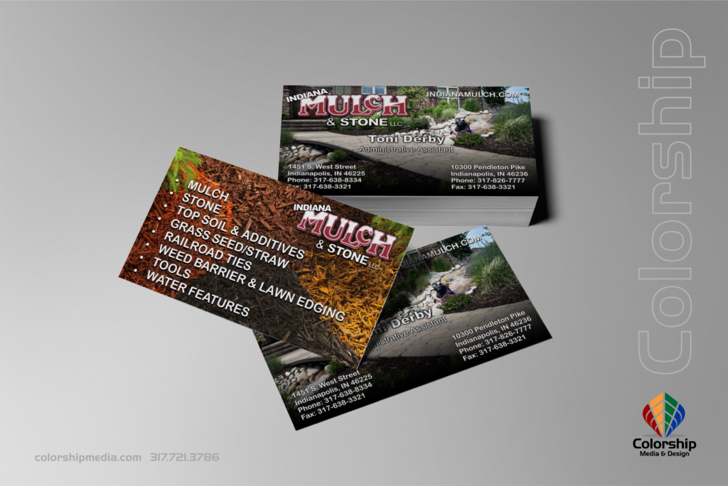 Indiana Mulch & Stone Business Card Mockup branded