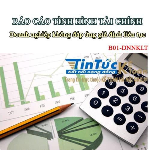 Hướng dẫn lập Báo cáo tình hình tài chính theo mẫu B01-DNNKLT_Thông tư 133