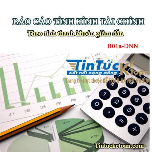 Hướng dẫn lập Báo cáo tình hình tài chính theo mẫu B01a-DNN_Thông tư 133