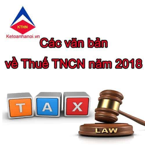 Các văn bản mới về thuế TNCN 2018