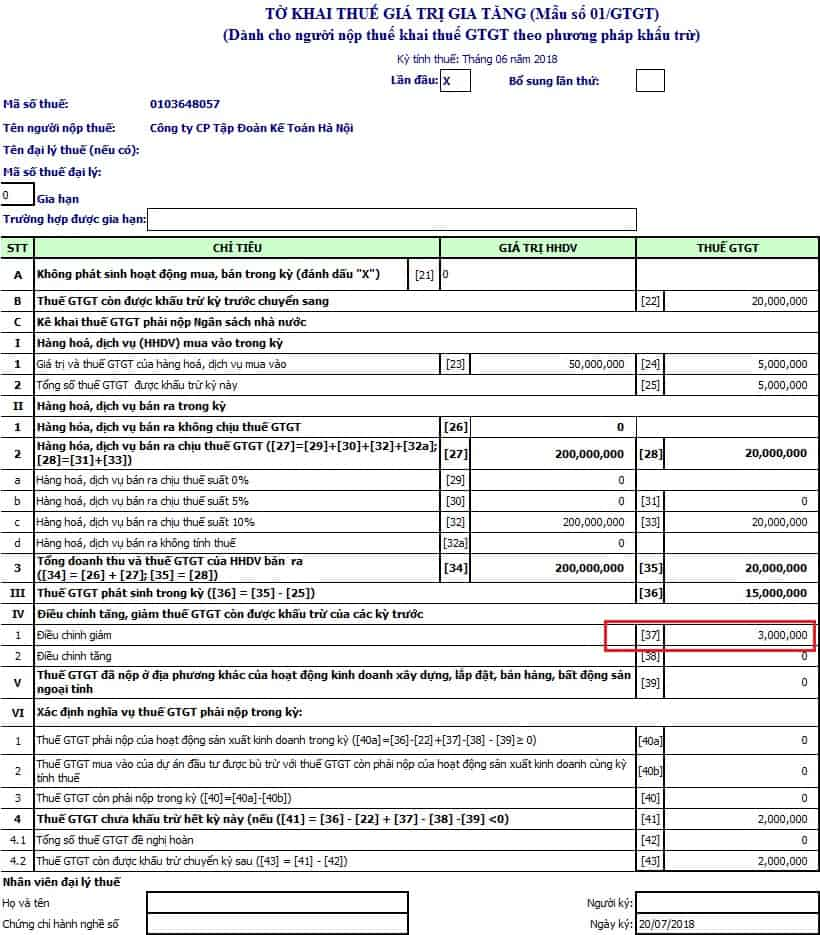 Điều chỉnh thuế GTGT Của kỳ t05