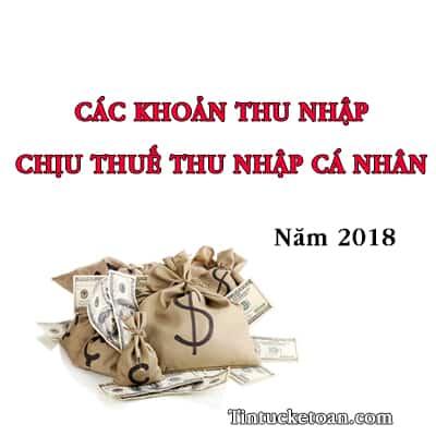 Các khoản thu nhập chịu thuế TNCN năm 2018