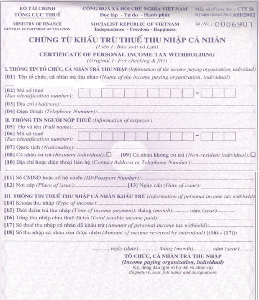 Mẫu chứng từ khấu trừ thuế TNCN mới nhất