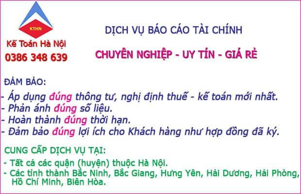 Dịch vụ làm báo cáo tài chính tại Võ Cường Bắc Ninh