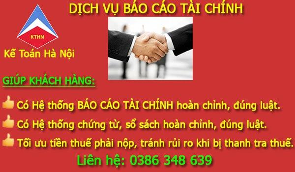 Dịch vụ làm báo cáo tài chính tại Ba Vì Hà Nội