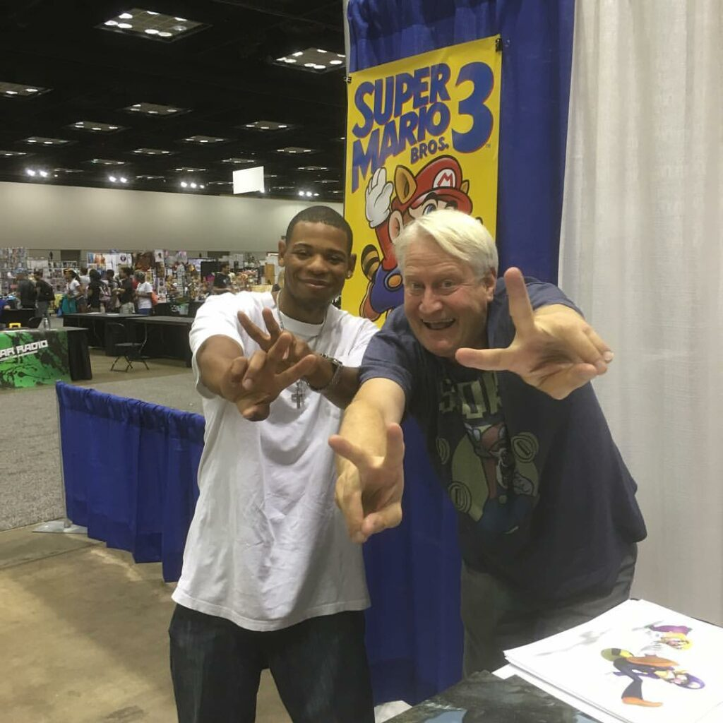 Young Thunder & voice actor Charles Martinet, the voice of Super Mario in Indianapolis.