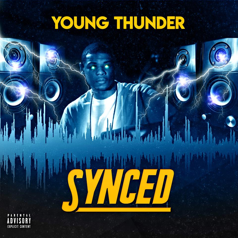 "Young Thunder cover art to his album ""Synced"" now available online."