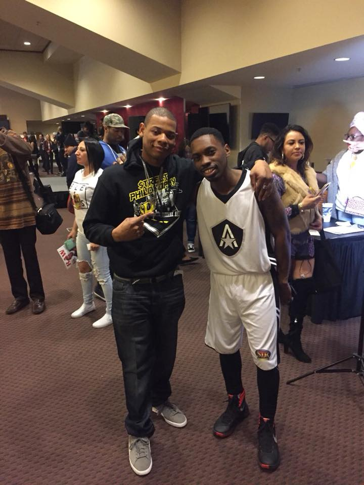 Young Thunder & actor Melvin Jackson jr at the USC celebrity basketball game in LA.