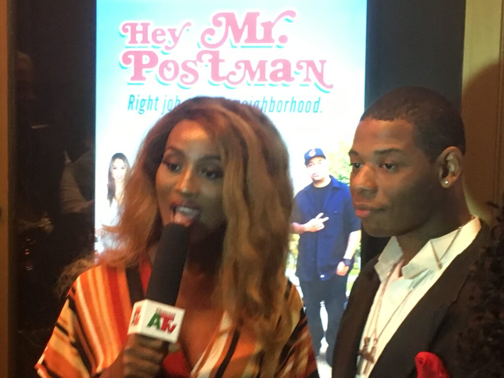"Young Thunder's red carpet interview at the movie premiere to ""Hey Mr. Post man"" at the Fine Arts Theatre in Beverly Hills, CA."