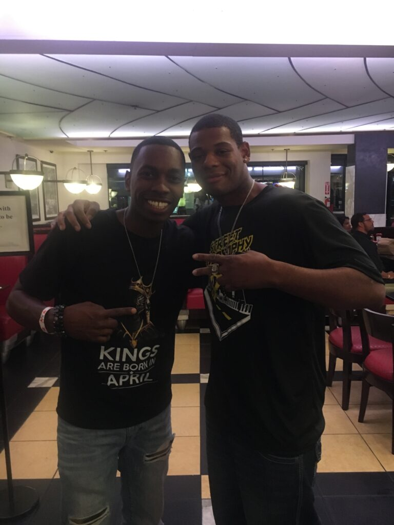 Young Thunder & actor Melvin Jackson jr Jerry's Famous Deli in Studio City, CA.