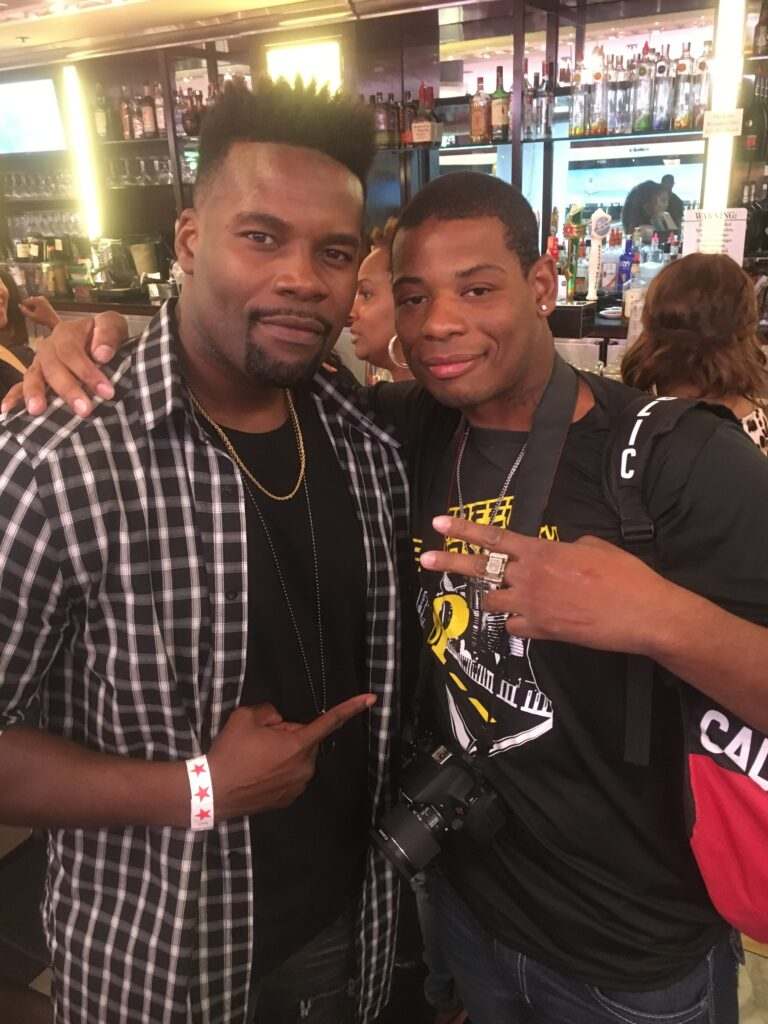 Young Thunder & actor Amin Joseph at Jerry's Famous Deli in Studio City, CA.