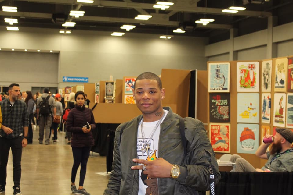 Young Thunder at an art show at the Convention Center in Austin, TX SXSW 19.
