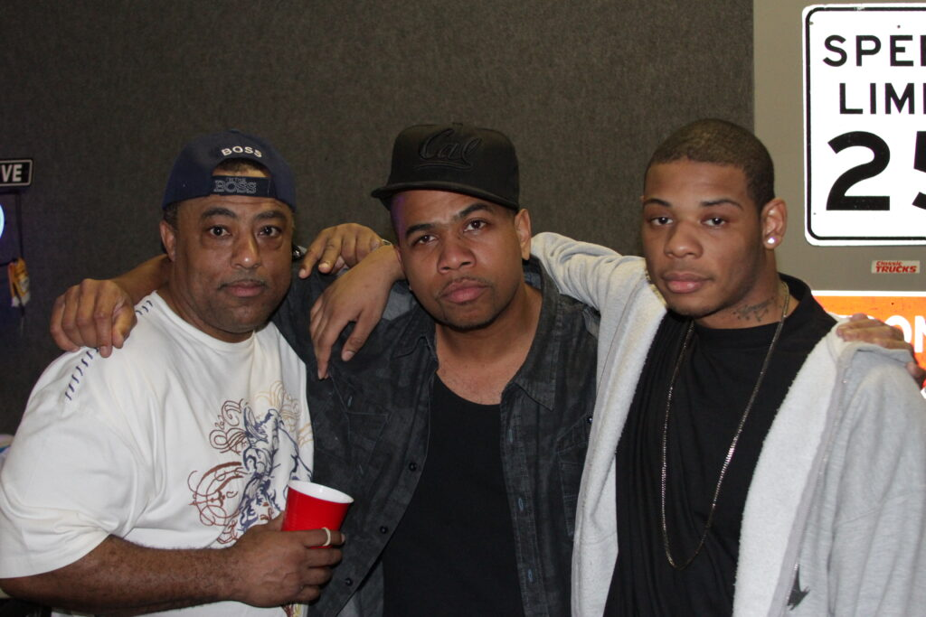"Young Thunder & actor Omar Gooding, & film director Curtis Elerson behind the scene at the Young Thunder video shoot for ""Back it Up"" in Hollywood, CA."