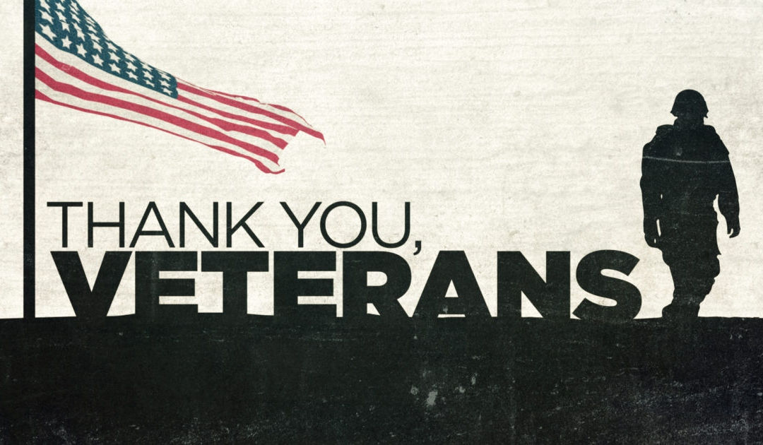 Thank You Veterans with american flag and silhouette