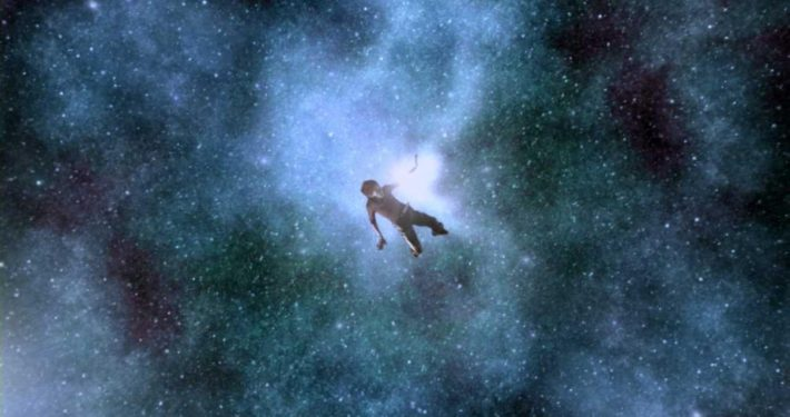 Image depicting a human body floating in space with the caption THE BODY IS BLISS and depicting the concept of BLISS, used as a navigation button to the Self plus BodyMind Relationship page of The Body Is Mind website. Click this button to navigate to that page.