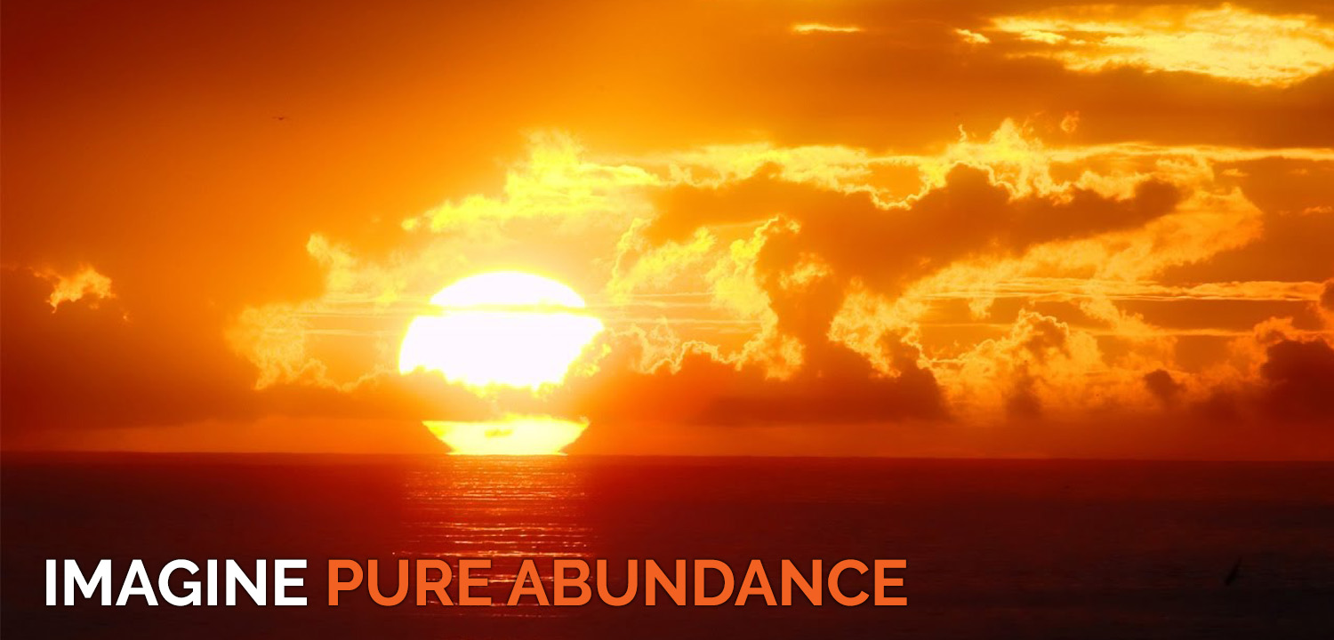 Image of the sun setting over the ocean with the caption Imagine Pure Abundance is used on the Global Mission page of The Body Is Mind