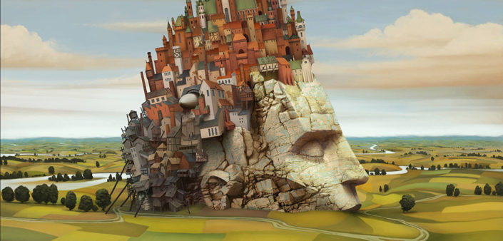 This digital art image depicts a giant statue head semi-buried in a rural landscape with buildings for hair and eyes closed and is used to represent thoughtfulness as the header image of the Self Awareness page of The Body Is Mind website.