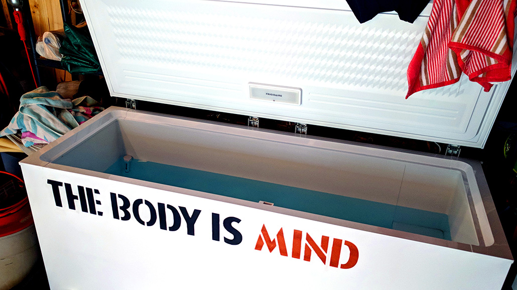 A picture of a white 20 cubic foot freezer being used as a cold tub with the body is mind stenciled on the side
