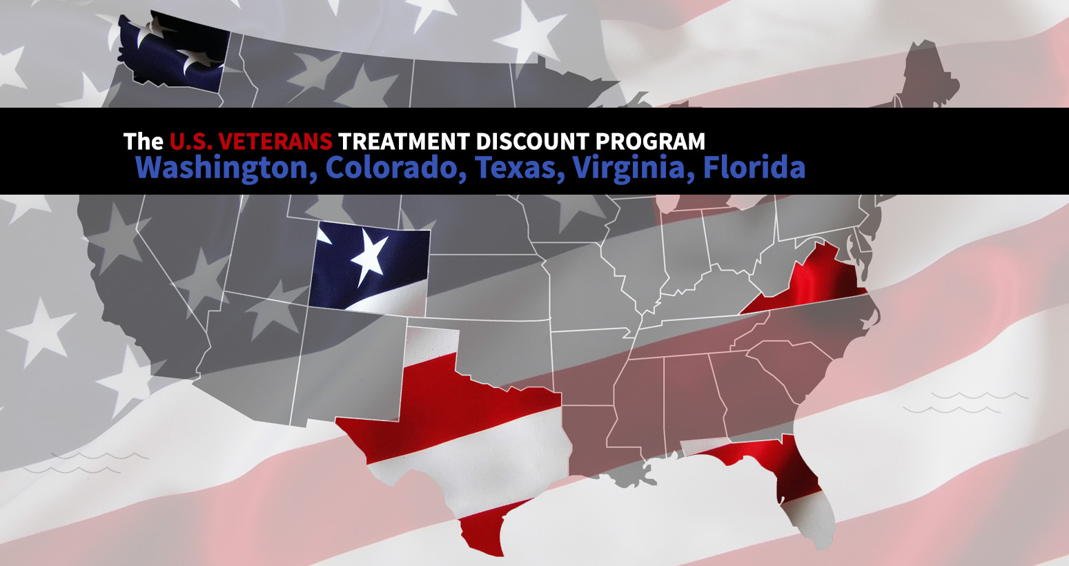 The national veterans treatment discount program is soon going to be offered in Washington state, Colorado, Texas, Virginia and Florida to provide FREE or discounted services to war-torn veterans for chronic pain and PTSD - used as a navigation button to the page detailing the program on TheBodyIsMind