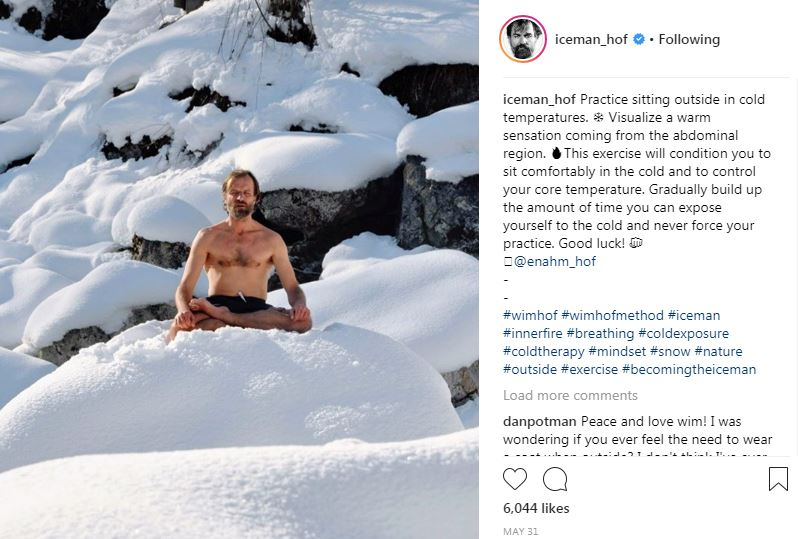 Here's Wim Hof The Iceman from Instagram, used on The Ultimate Healing Guide's Wim Hof Method article - TheBodyIsMind