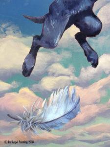 Short hair black dog Pet Angel Painting