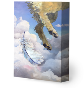 A look at the depth of a wrapped canvas painting print.