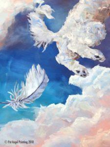 White long hair dog Pet Angel memorial painting