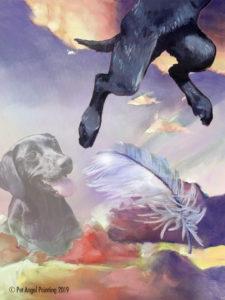 Black Lab pet memorial painting
