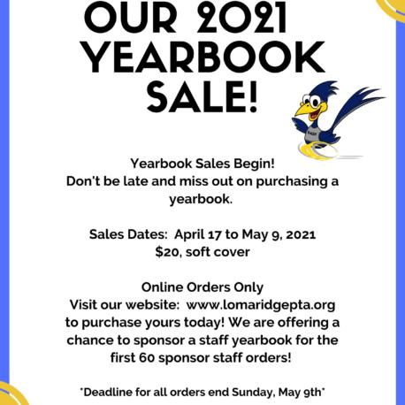 LR 2020-2021 Yearbook Sale Flyer