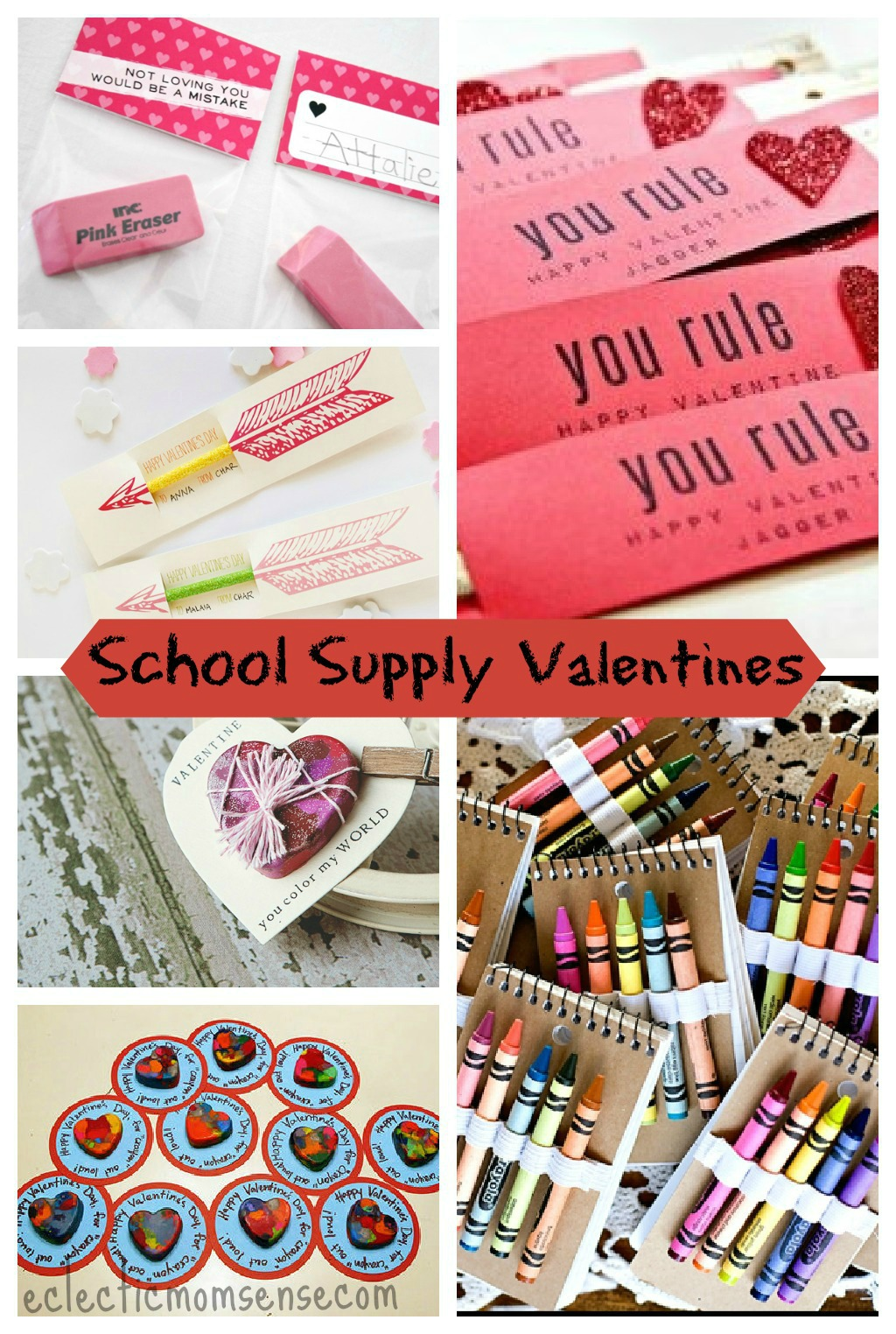 School Supply Valentines Ideas via @eclecticmommy - eclecticmomsense.com