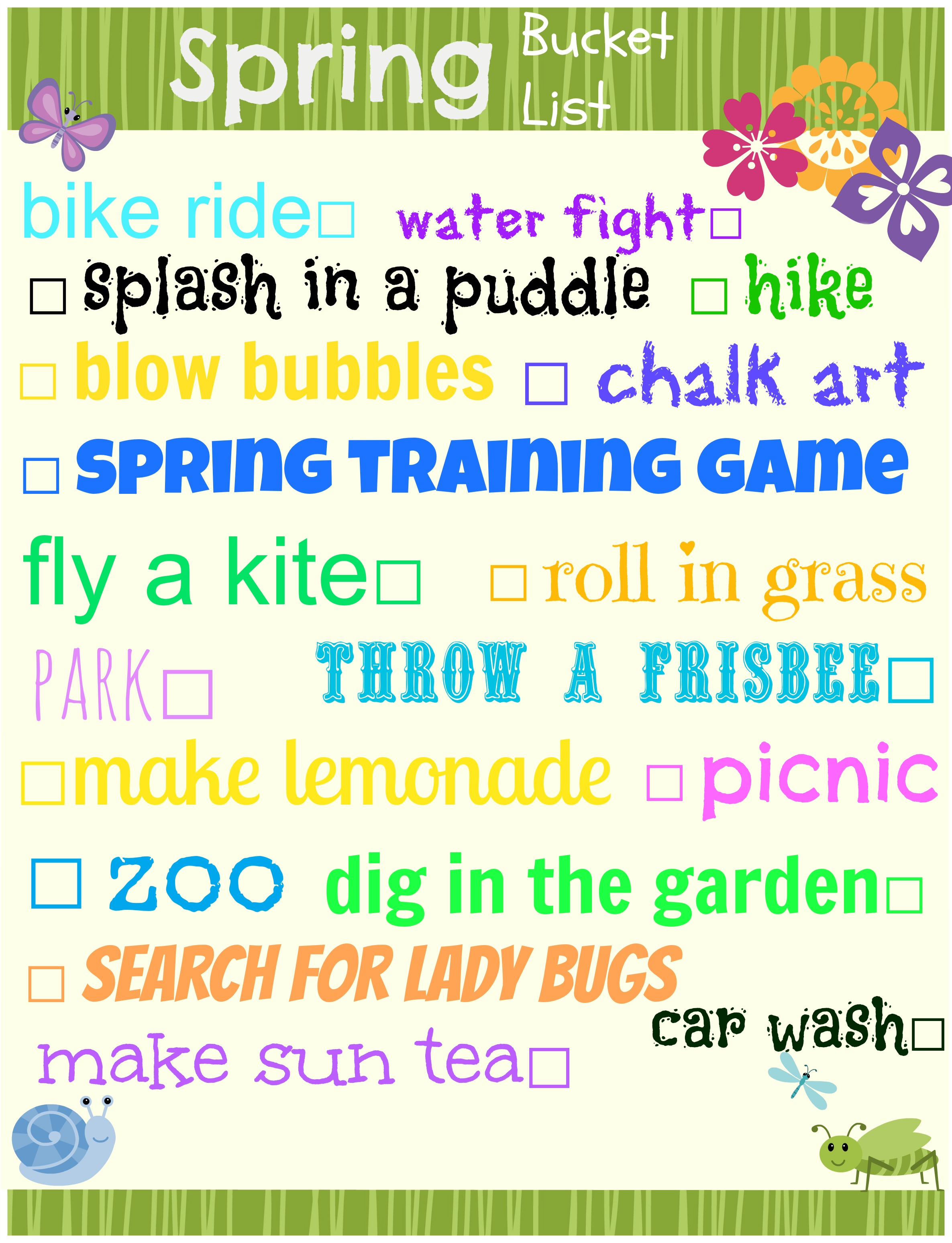 Eclectic Momsense- Spring Bucket List printable
