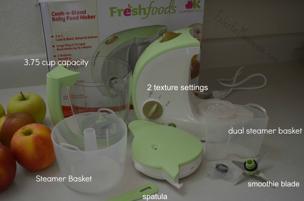 Eclectic Momsense- Fresh Foods Baby Food maker with multiple speeds/textures and additional smoothie blade.