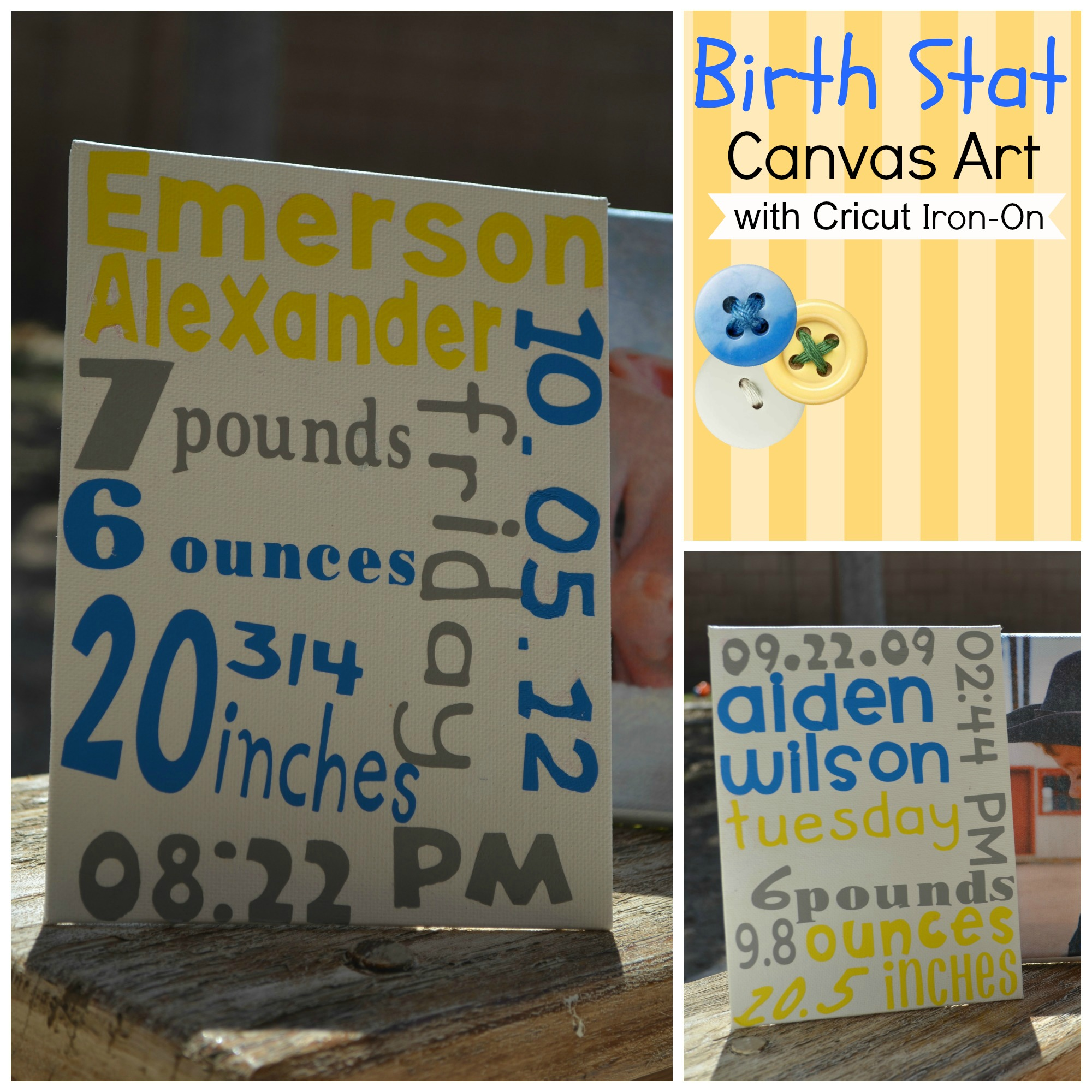 Eclectic Momsense- Birth Stat Canvas Art with Cricut Iron-On