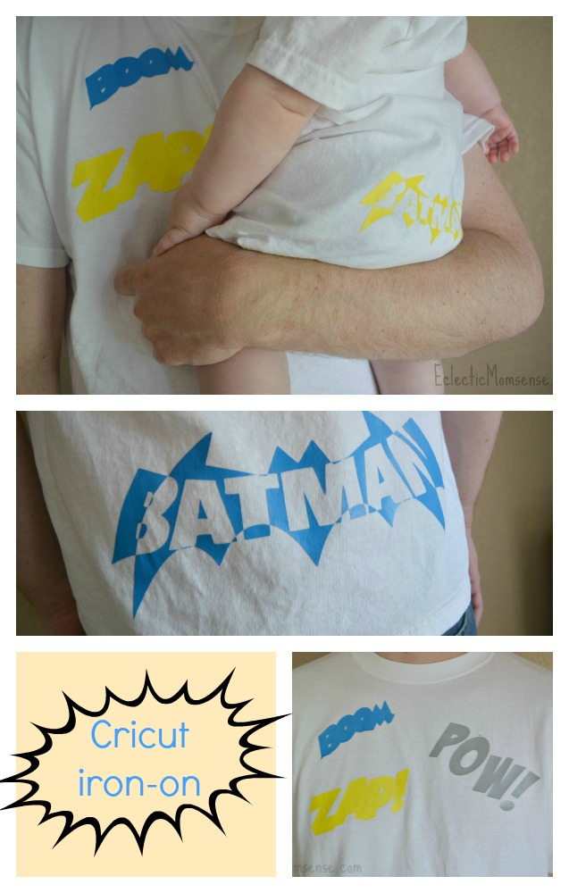 Eclectic Momsense- Easy superhero attire made with plain white tees and Cricut iron-on.
