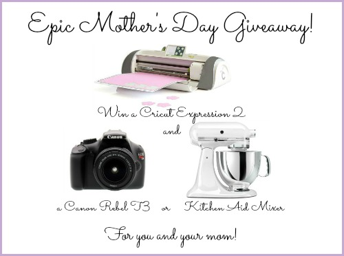 Ultimate Mother's Day Giveaway- Win a Cricut & Kitchen Aid Mixer or Canon DSLR for you AND your mom!
