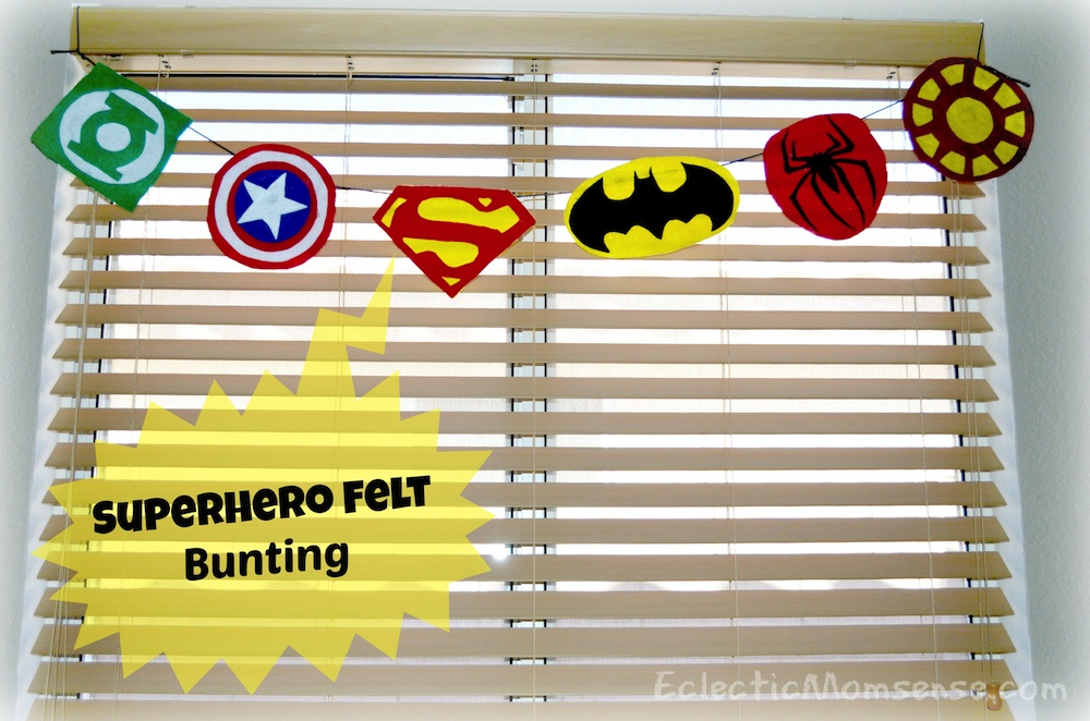 Inexpensive superhero party and room decor- Superhero Felt Bunting