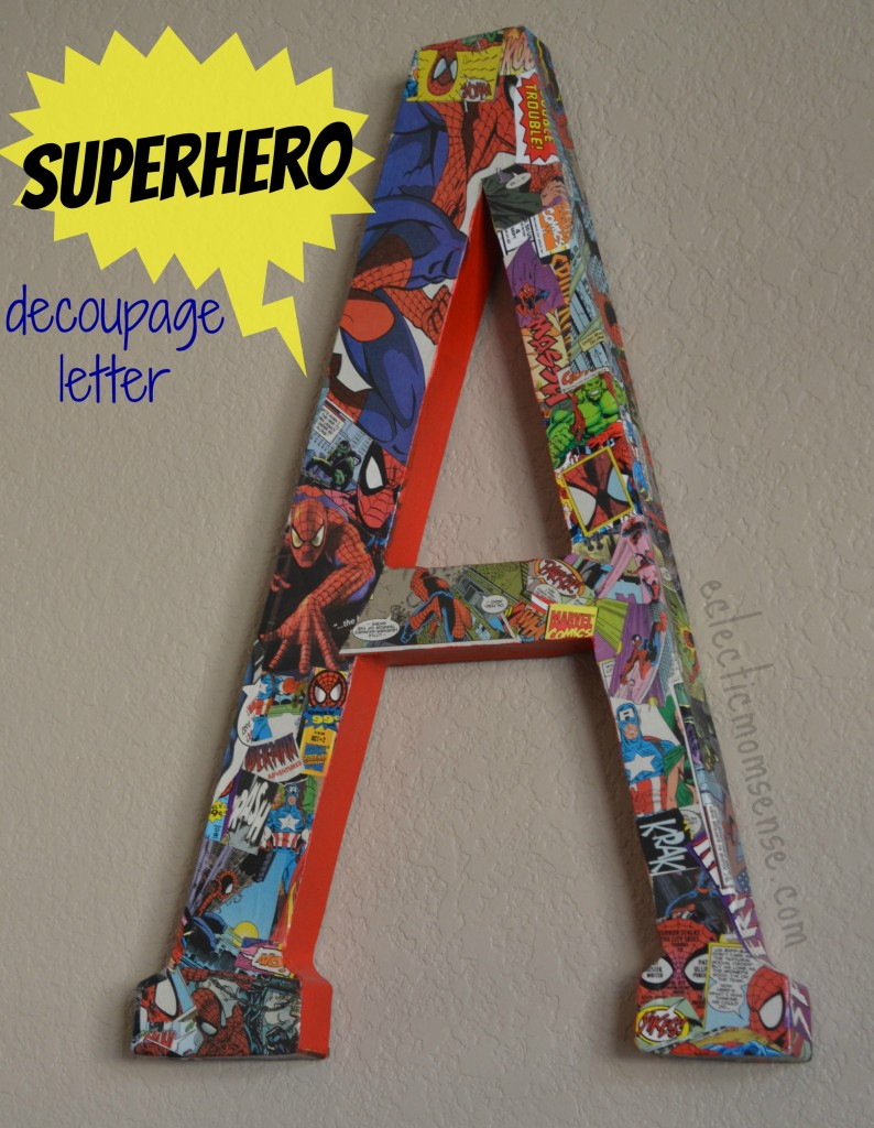Turn old comics into fun bedroom decor for your little superhero.-Eclectic Momsense