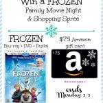Win a FROZEN Blu-ray + DVD + Digital Copy & $75 Amazon Gift Card.